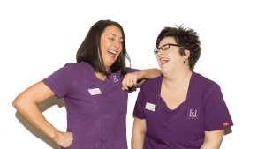 Natalie Doughty and Faye Vaughan Laughing at Rock House Dental Practice Dentist Wolverhampton