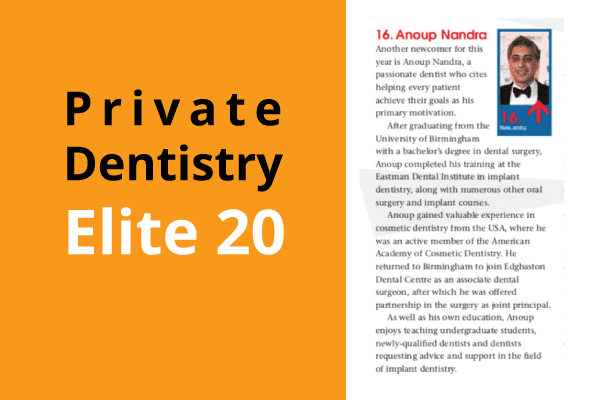Wolverhampton Dentist Private Dentistry Elite 20 article with picture of Dr Anoup Nandra Dentist Wolverhampton