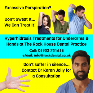 Three people with sweaty armpits and Dr Karan Jolly for Hyperhidrosis